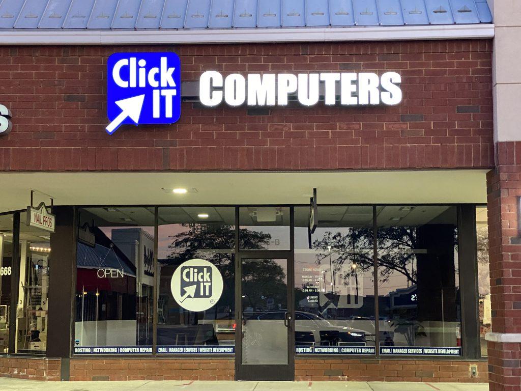Illuminated Click IT Computers Sign